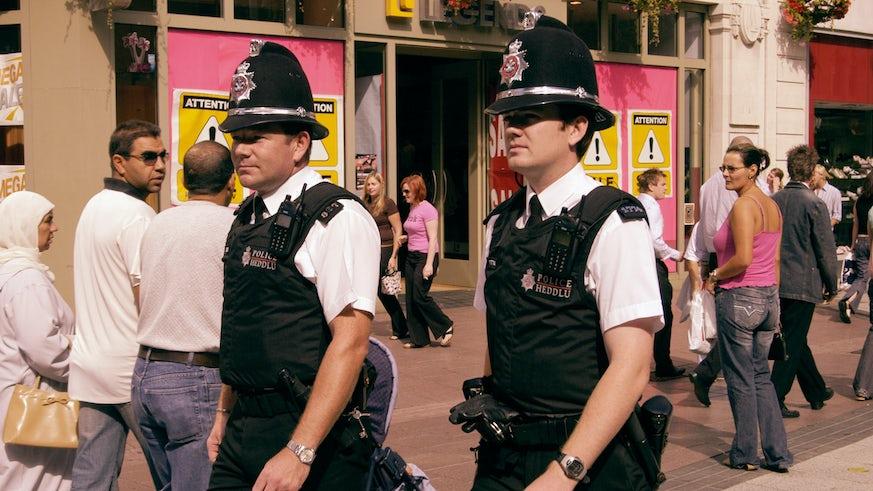 Police walking in a street