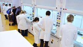 Chemistry students in lab 4