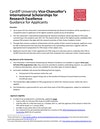 Vice-Chancellor's International Scholarships for Research Excellence - Guidance for Applicants